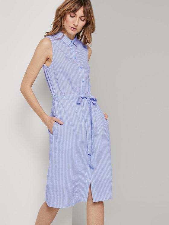 Ärmelloses Hemdkleid mit Streifenmuster - Frauen - blue dobby stripe - 5 - TOM TAILOR