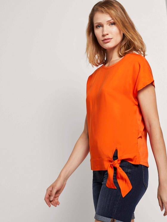 T-shirt with knot details in a material mix - Women - strong flame orange - 5 - TOM TAILOR