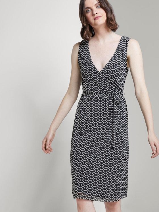 Gemustertes Mesh-Kleid in Wickeloptik - Frauen - navy dot design - 5 - TOM TAILOR