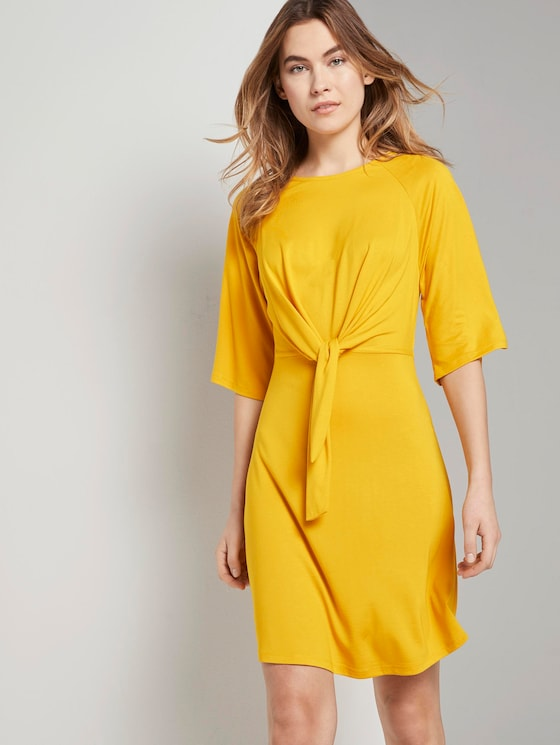 Luftiges Kleid mit Knoten-Detail und weiten Ärmeln - Frauen - deep golden yellow - 5 - TOM TAILOR