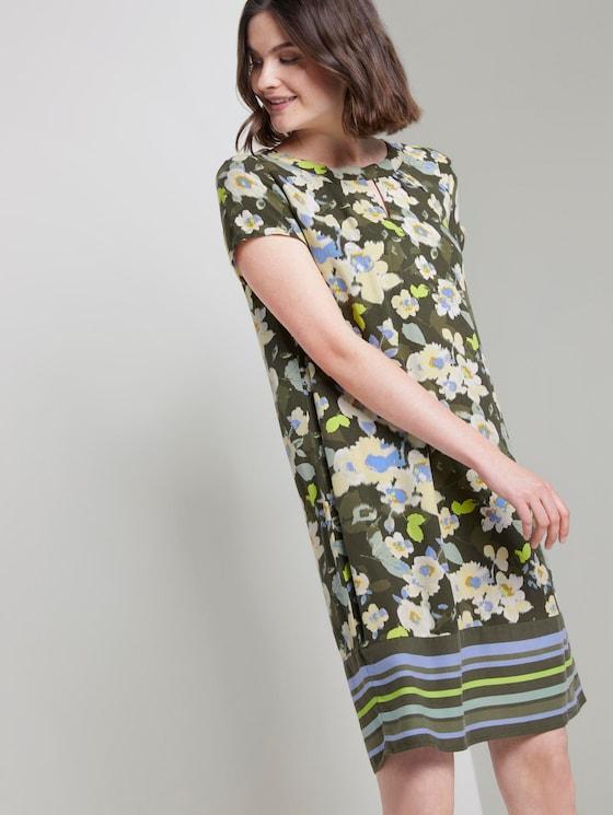 Gemustertes T-Shirt-Kleid - Frauen - khaki floral design - 5 - TOM TAILOR