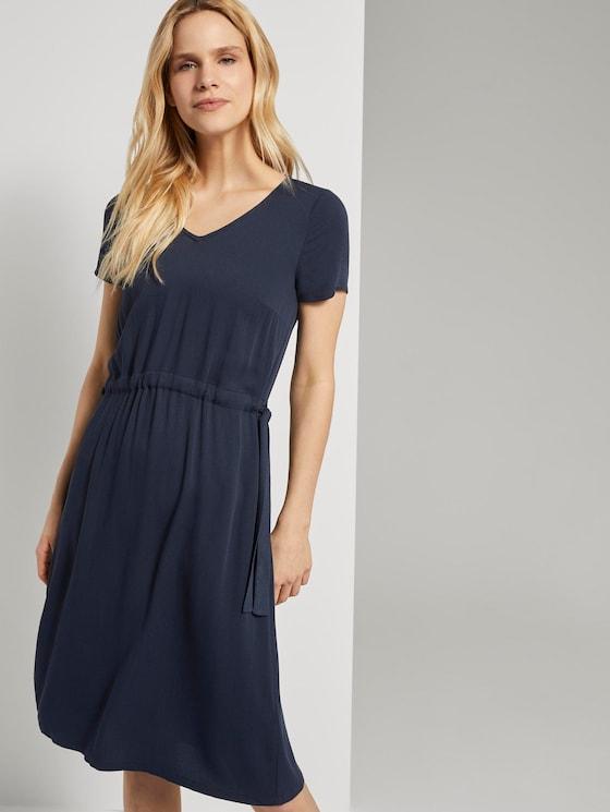 Strukturiertes Kleid mit Tunnelzug - Frauen - Sky Captain Blue - 5 - TOM TAILOR