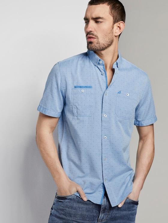 Gemustertes Kurzarmhemd mit Brusttaschen - Männer - blue white with dobby twill - 5 - TOM TAILOR