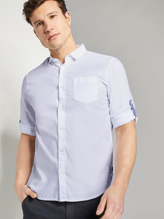Gemustertes Hemd mit Haifisch-Kragen - Männer - White - 5 - TOM TAILOR