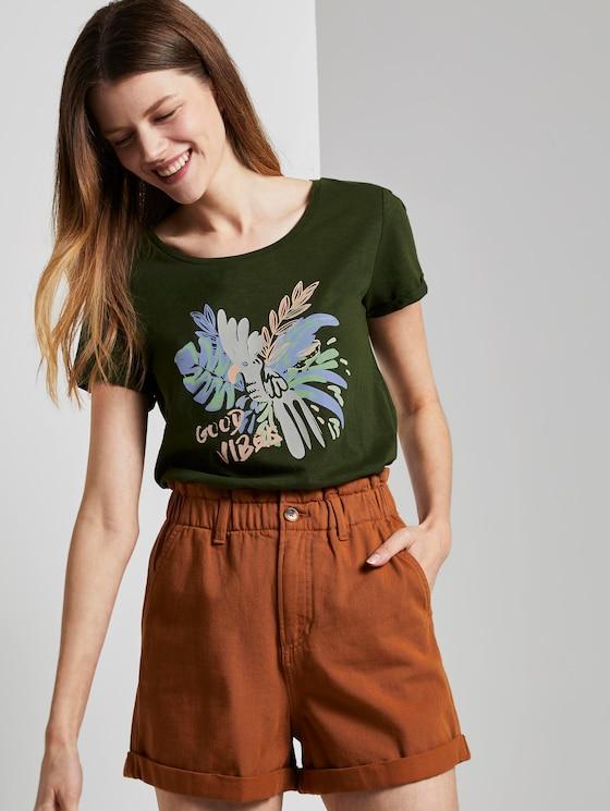 T-Shirt mit Brustprint - Frauen - Dusty Rifle Green - 5 - TOM TAILOR Denim