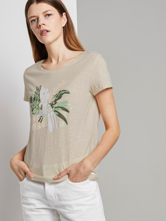 T-shirt with a chest print - Women - soft creme beige - 5 - TOM TAILOR Denim