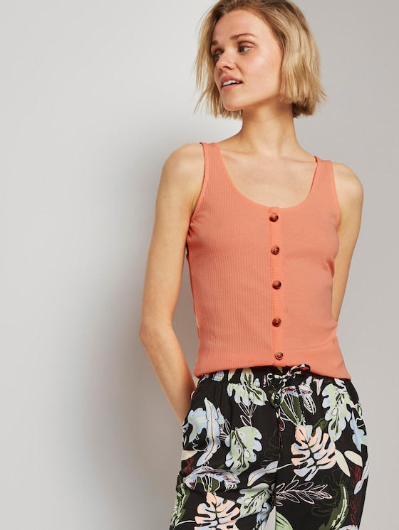 Ripp-Top mit Knopfleiste - Frauen - papaya neon orange - 5 - TOM TAILOR Denim