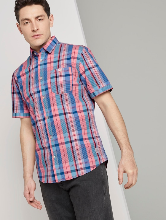 Kariertes Hemd - Männer - orange blue colourful check - 5 - TOM TAILOR