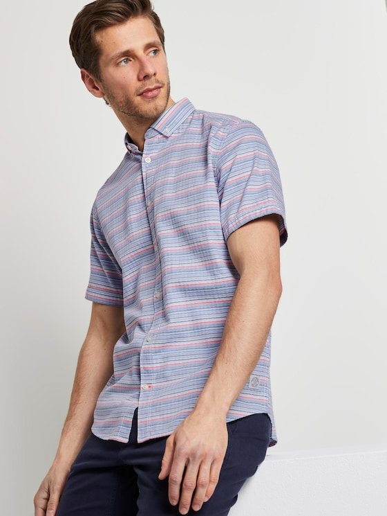 Gestreiftes Hemd - Männer - orange blue horizontal stripe - 5 - TOM TAILOR