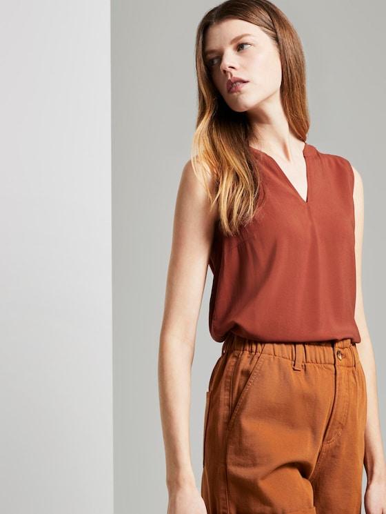 Sleeveless tunic with a Henley neckline - Women - Rust Orange - 5 - TOM TAILOR Denim