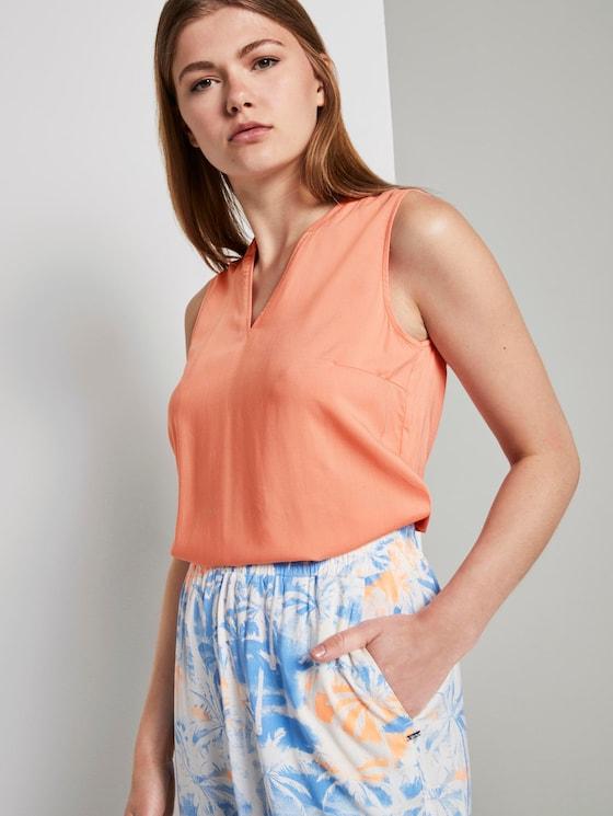 Ärmellose Tunikabluse mit Henley-Ausschnitt - Frauen - papaya orange - 5 - TOM TAILOR Denim