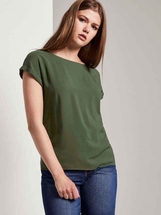 Short-sleeved tunic blouse with back details - Women - Dusty Rifle Green - 5 - TOM TAILOR Denim