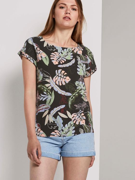 Kurzarm-Tunikabluse mit Rückendetail - Frauen - black tropical print - 5 - TOM TAILOR Denim