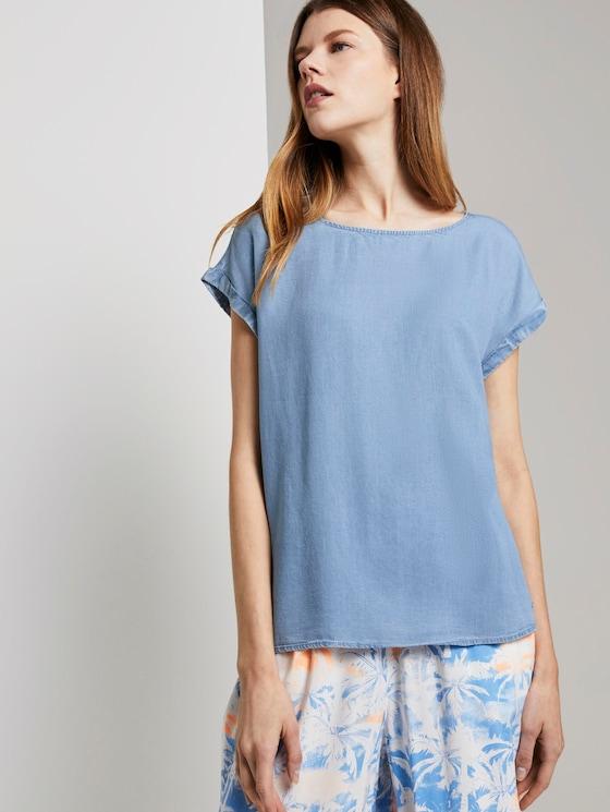 Short-sleeved tunic blouse in a denim look - Women - light stone bright blue denim - 5 - TOM TAILOR Denim