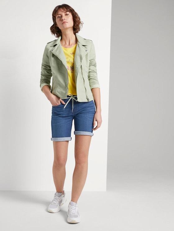 Alexa slim bermuda denim shorts - Women - Clean Dark Stone Blue Denim - 3 - TOM TAILOR