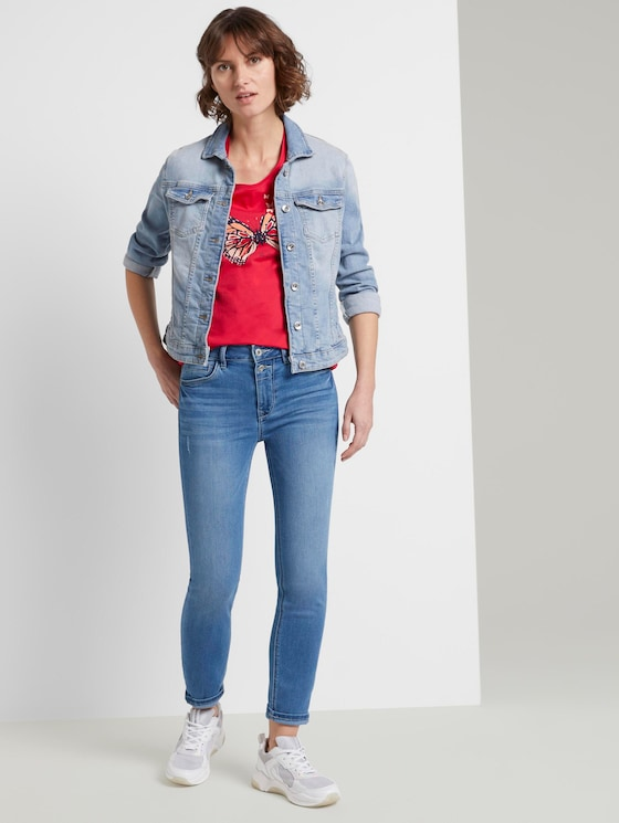 Kate Slim Jeans in Ankle-Länge - Frauen - mid stone bright blue denim - 3 - TOM TAILOR