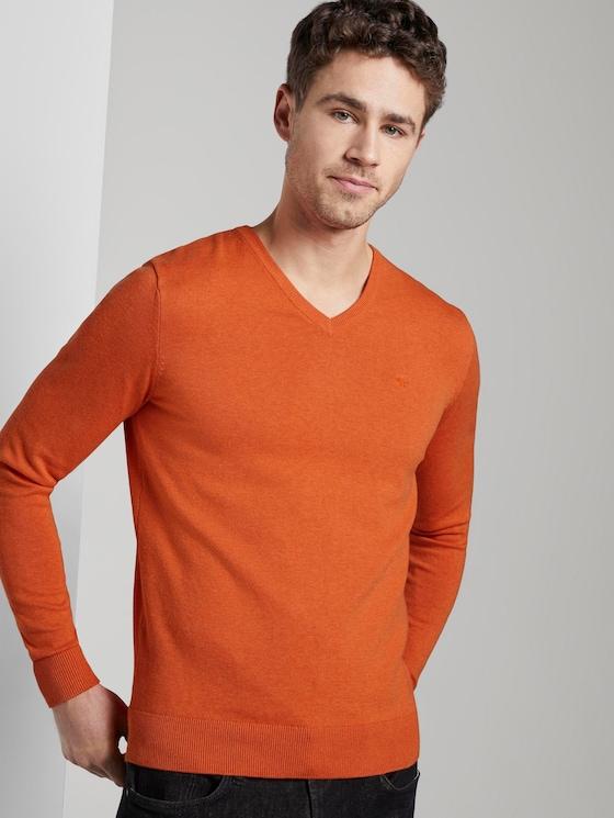 Basic Strickpullover mit V-Ausschnitt - Männer - bright orange melange - 5 - TOM TAILOR