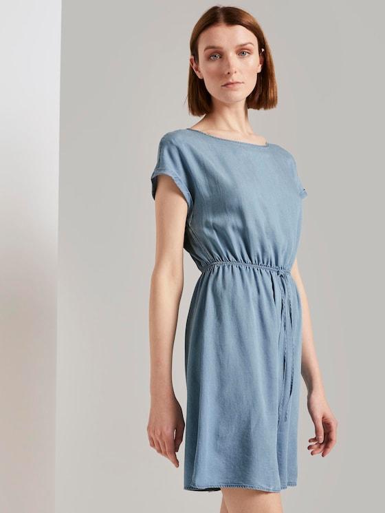 Mini dress with a back cut-out in a denim look - Women - light stone bright blue denim - 5 - TOM TAILOR Denim