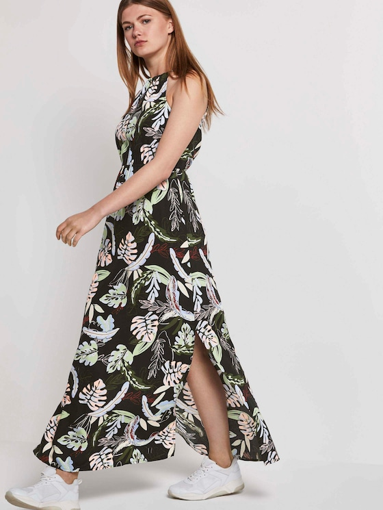 Halter maxi dress with a tropical print - Women - black tropical print - 5 - TOM TAILOR Denim