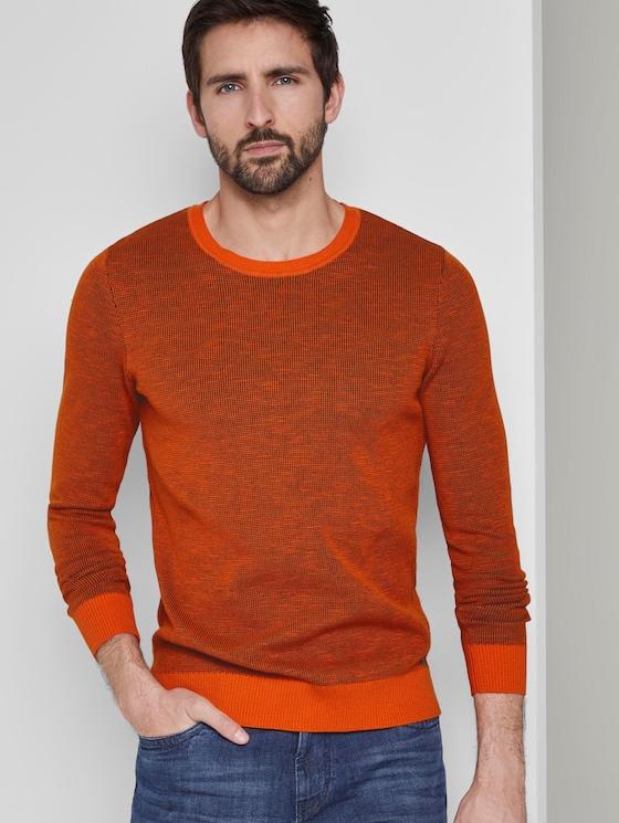 Strukturierter Pullover - Männer - orange grey structure - 5 - TOM TAILOR