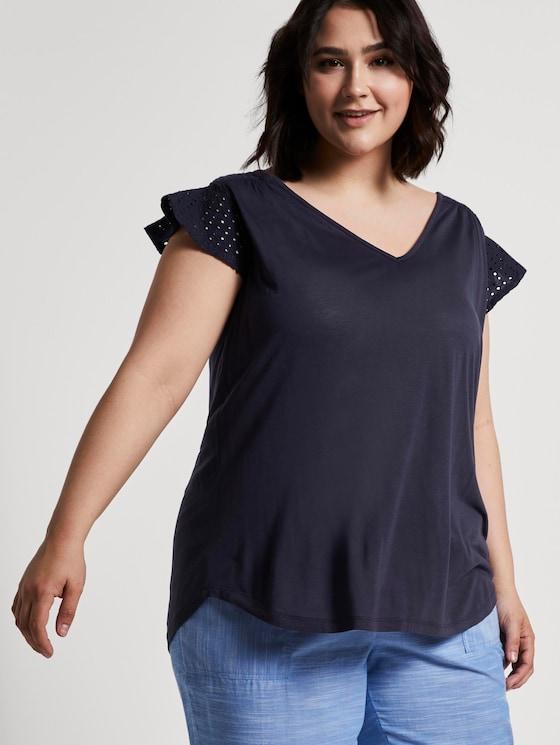 T-Shirt mit Lochstickerei - Frauen - Real Navy Blue - 5 - My True Me