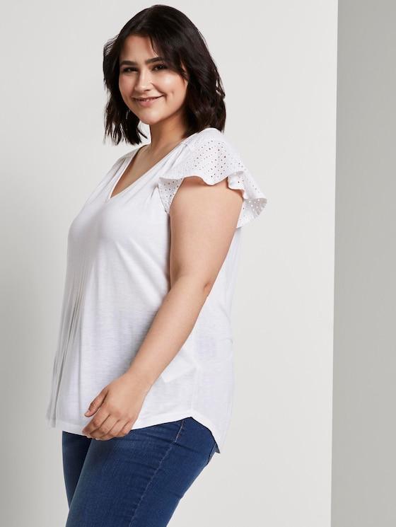 T-Shirt mit Lochstickerei - Frauen - White - 5 - My True Me