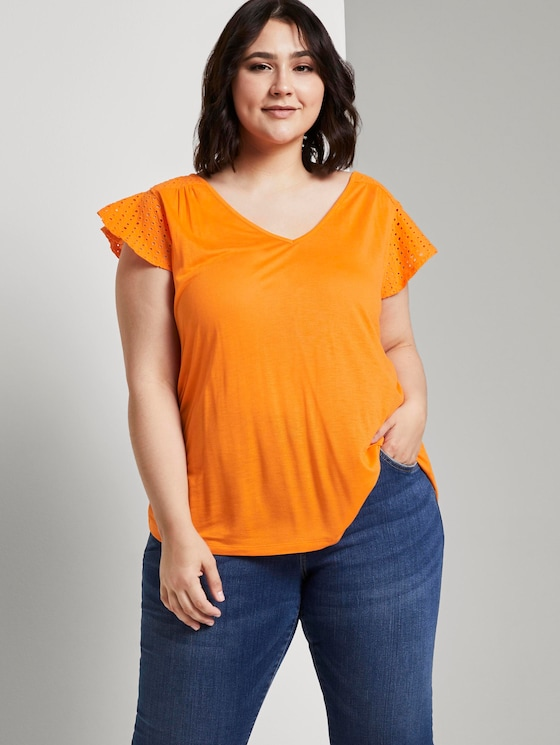 T-Shirt with embroidered details - Women - bright mandarin - 5 - My True Me