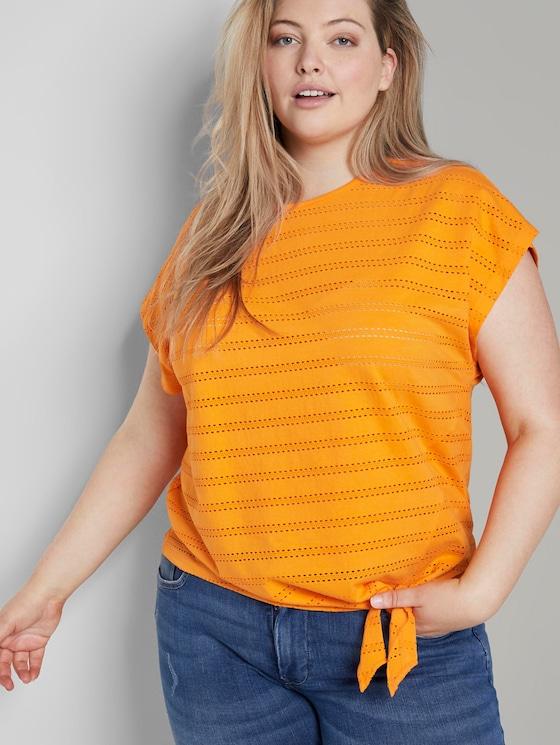 T-Shirt mit Lochstickerei und Knoten-Detail - Frauen - bright mandarin - 5 - My True Me