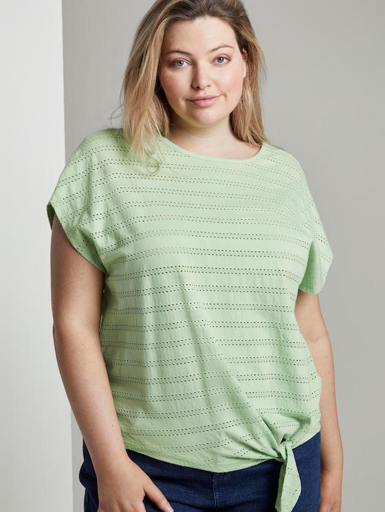 Curvy - T-Shirt mit Lochstickerei und Knoten-Detail - Frauen - light pistachio green - 5 - My True Me