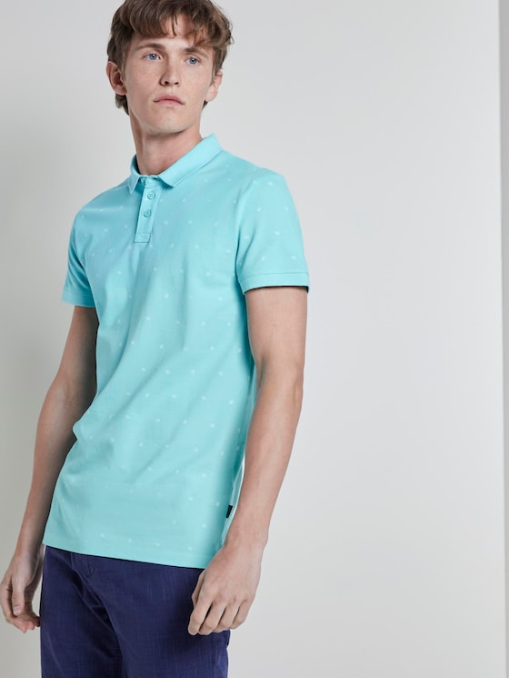 Polo shirt with an all-over print - Men - soft blue small leaves print - 5 - TOM TAILOR Denim