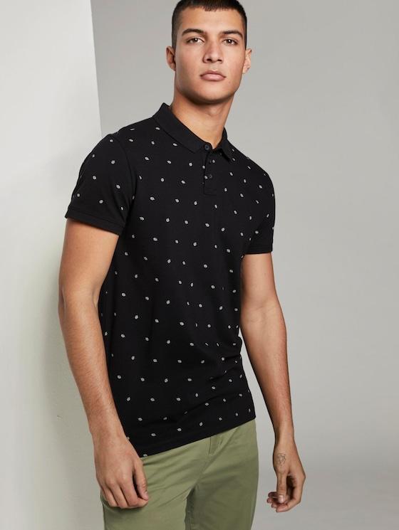 Poloshirt mit Allover-Print - Männer - black small leaves print - 5 - TOM TAILOR Denim