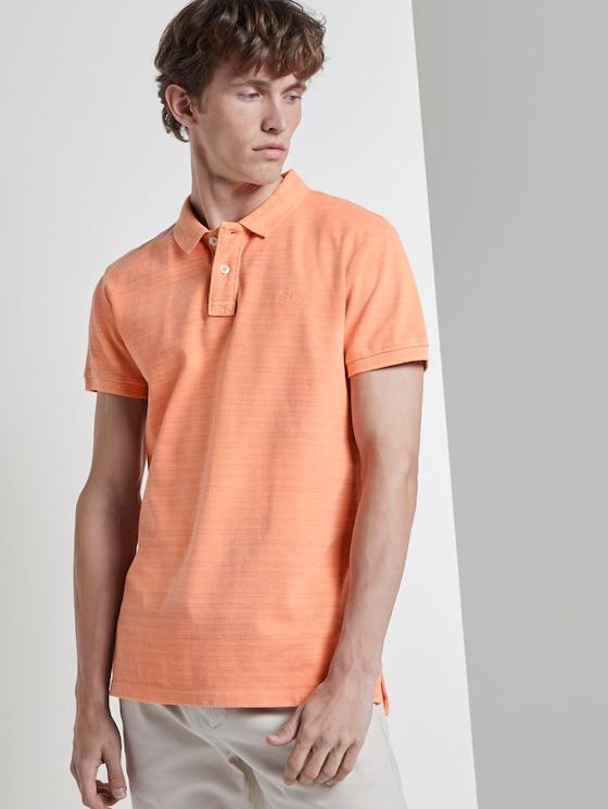 Poloshirt in Melange-Optik mit Stickerei - Männer - neon orange white melange - 5 - TOM TAILOR Denim