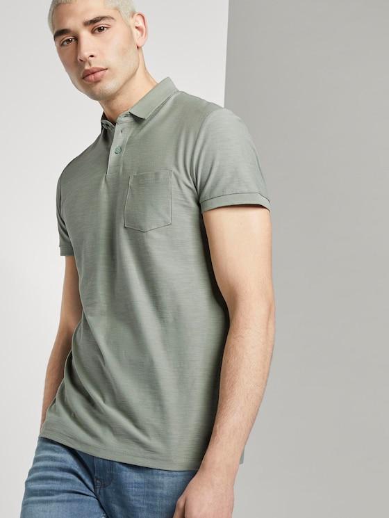 Poloshirt mit Streifenstruktur - Männer - Dusty Leave Green - 5 - TOM TAILOR Denim