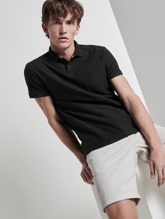 Poloshirt mit Streifenstruktur - Männer - Black - 5 - TOM TAILOR Denim