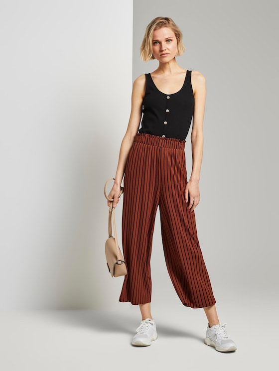 Gestreifte Culotte Hose mit elastischem Bund - Frauen - rust black stripe - 3 - TOM TAILOR Denim