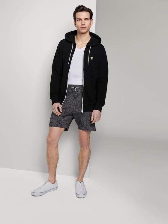 Sweat-Shorts in Melange-Optik - Männer - Black Non-Solid - 3 - TOM TAILOR Denim