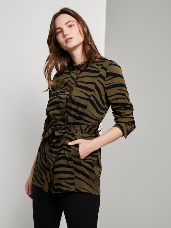 Blazerjacke im Zebra-Muster - Frauen - olive zebra design - 5 - Mine to five