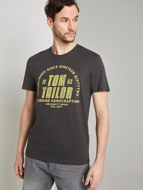 T-shirt with a logo print - Men - Phanton Dark Grey - 5 - TOM TAILOR