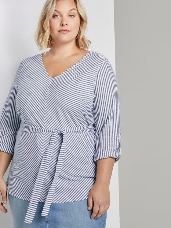Gestreifte Bluse mit Gürtel - Frauen - navy white stripe - 5 - My True Me