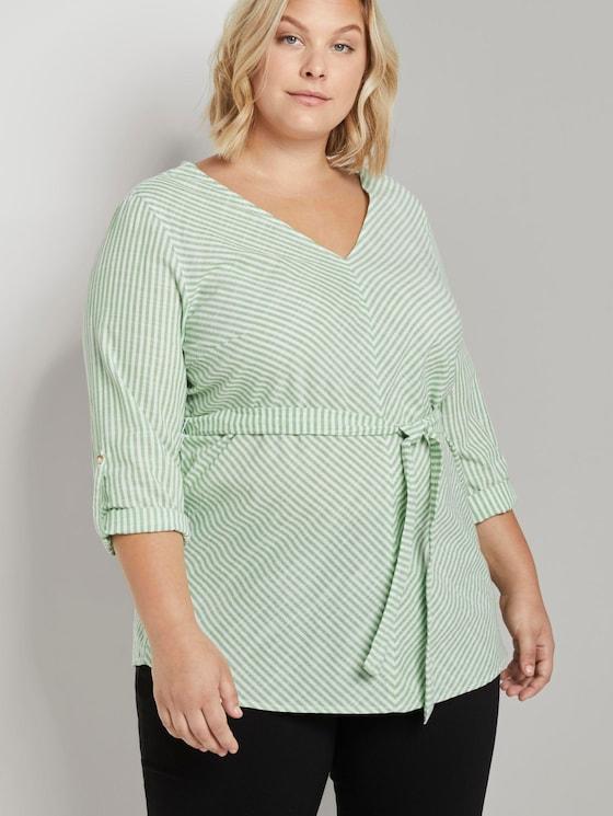 Gestreifte Bluse mit Gürtel - Frauen - light green white stripe - 5 - My True Me