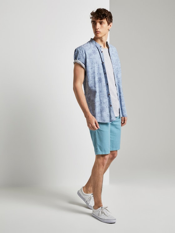 Chino Shorts mit Kordelzug - Männer - two colored sky blue design - 3 - TOM TAILOR Denim