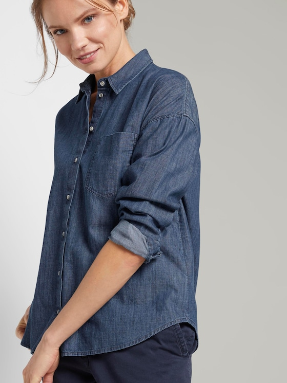 Jeansbluse im Loose-Fit - Frauen - dark stone wash denim - 5 - TOM TAILOR