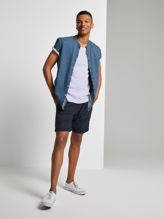 Shorts im Joggerfit aus Leinengemisch - Männer - Sky Captain Blue - 3 - TOM TAILOR Denim