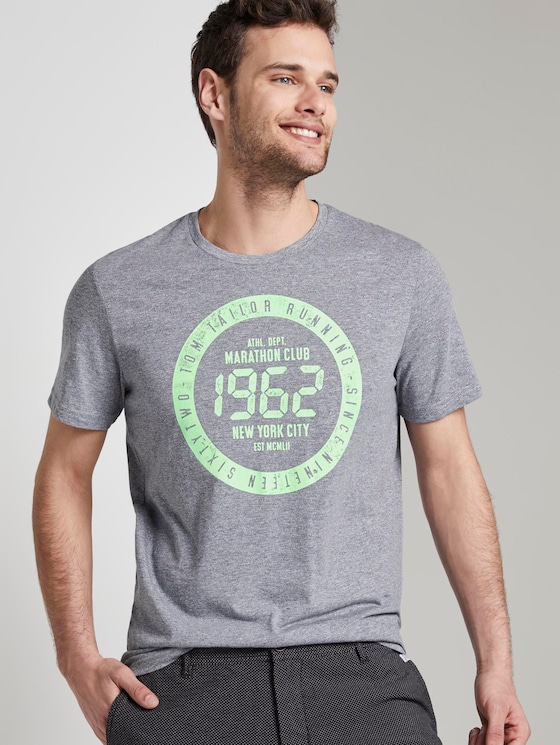 Meliertes T-Shirt mit Print - Männer - blue mocktwist - 5 - TOM TAILOR