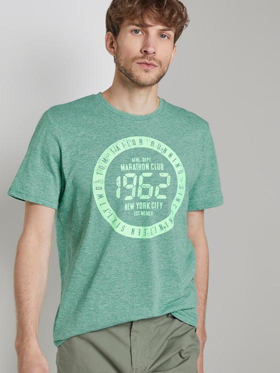 Meliertes T-Shirt mit Print - Männer - green mocktwist - 5 - TOM TAILOR