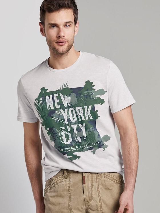 Meliertes T-Shirt mit Print - Männer - grey mocktwist - 5 - TOM TAILOR
