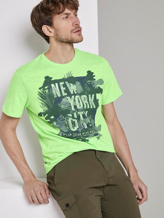 Meliertes T-Shirt mit Print - Männer - neon green mocktwist - 5 - TOM TAILOR