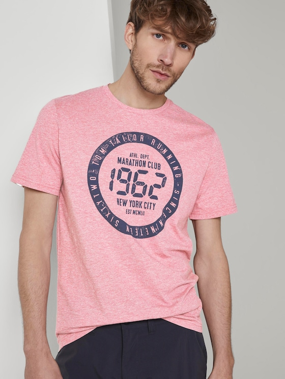 Meliertes T-Shirt mit Print - Männer - wine rose mocktwist - 5 - TOM TAILOR