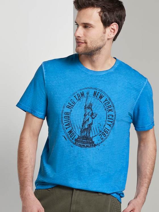 Gestreiftes T-Shirt mit NYC-Print - Männer - Electric Teal Blue - 5 - TOM TAILOR