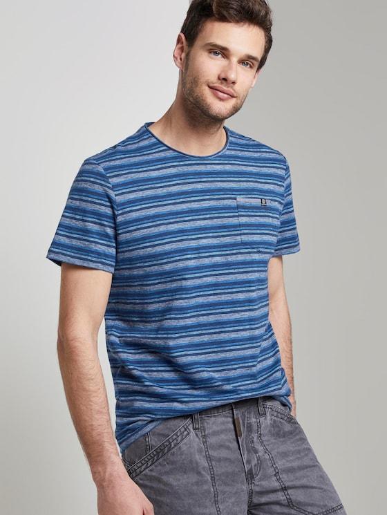 Bunt gestreiftes T-Shirt mit Brusttasche - Männer - blue teal multi fine stripe - 5 - TOM TAILOR